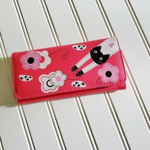 NWT Cute girlie Hot pink leather Cat wallet purse